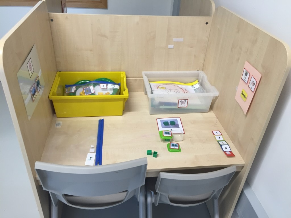 autism autistic children asd classroom workstation activities teacher pupils setting strategies box consider teaching child finished working activity writing resources