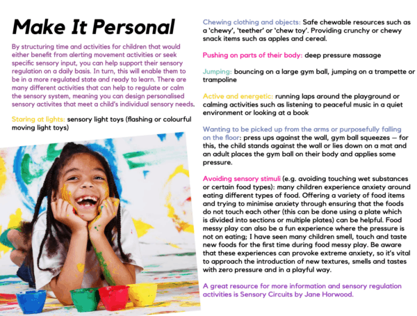 Meeting Sensory Needs page example Steph Reed